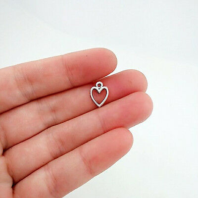 50 pcs Heart Tibet silver Charms Pendants DIY Jewellery Making crafts