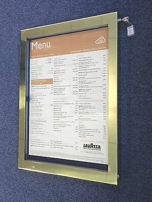 High Quality A2 Outdoor Solid Brass Menu Display Case With Internal LED Lights.