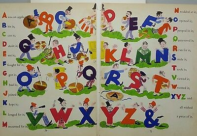 Alphabet Letters Children's Book Illustration 2 page spread 1938 Nursery Decor
