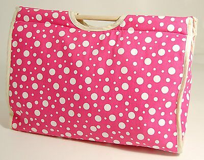 SALE - Craft Bag with Wooden Handles - Pink with Large Spots - S&W - 119KB