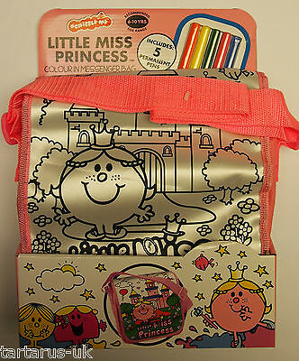 Little Miss Princess Colour In Messenger Bag + 5 Colouring Pens by Scribble Me