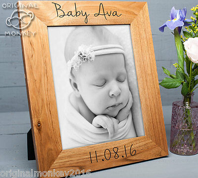 """Personalised Oak Picture Frame, Baby Photo Frame 10x8"""""""