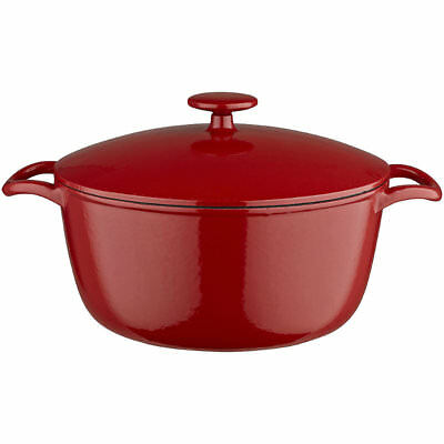 Lakeland 26cm Paprika Red Cast Iron Round Lidded Casserole (4.9L)