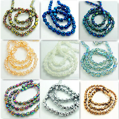20pcs Skull Crystal Glass Loose Spacer Beads Skull Beads Charms Findings  10x8mm
