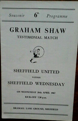 Sheffield Utd V Sheffield Wednesday 26/4/1967 Graham Shaw Testimonial