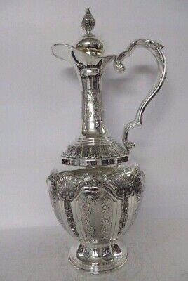 925 Sterling Silver Handcrafted Elegant Matte Chased Swirl Wine Decanter 3183