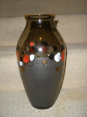 "12"" Vase Bohemian Czech Egermann Crystal Glass Hand Made Painted  NEW MINT"