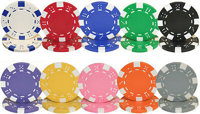 NEW 200 Piece Striped Dice 11.5 Gram Poker Chips Mix and Match Colors