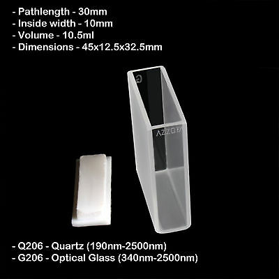 Azzota 30mm Pathlength Quartz Cuvettes - 10.5ml