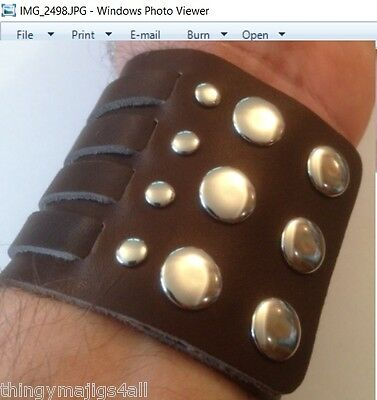 Genuine Leather Steampunk Wristband Wrist Strap Band Bracelet Black Brown Mens