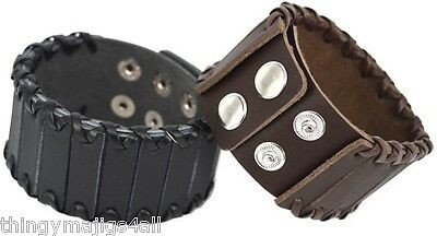 Genuine Leather Steampunk Wristband Wrist Strap Band Bracelet Mens Black + Brown