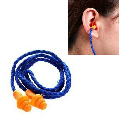 2 Pair Reusable Hearing Protection Earplugs ~ Corded Soft Silicone Ear Plug