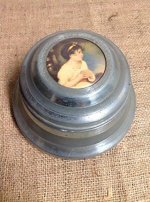 Vtg/ Antique Round Aluminum Trinket Powder Music Box Victorian Girl On Lid