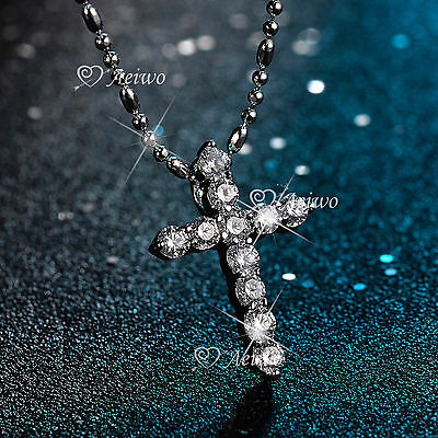 18K White Gold Filled Made With Swarovski Crystal Cross Pendant Necklace