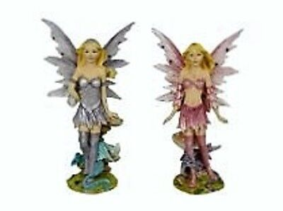 FAIRES~STANDING FAIRIES WITH DRAGON~18cm~(SET OF 2 ASSTD)