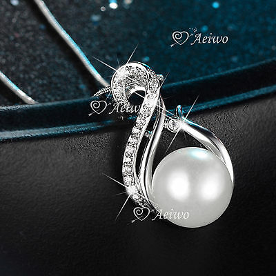 18K White Gold Gf Made With Swarovski Crystal Pendant Pearl Necklace