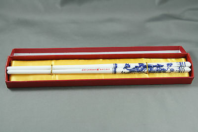Pair of air Canada Porcelain Chopsticks Blue and White Dragons