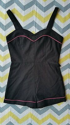 ❤ Vintage Playsuit retro 70's cute black & pink Size 6 sweetheart shorts mustsee
