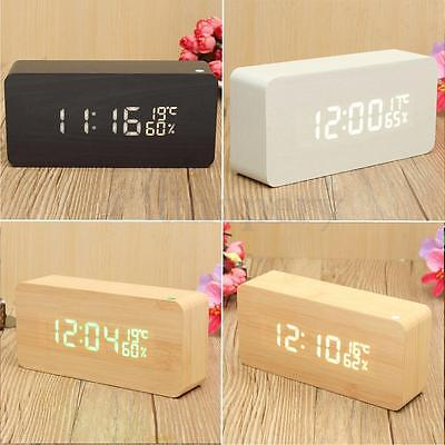 Sound Control Wooden Wood LED Digital Alarm Clock Time /Temperature/Humidity AAA