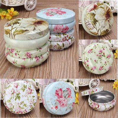 Flower Metal Storage Box Vintage Pill Iron Small Tin Jewelry Case Holder Decors