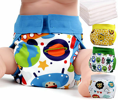 freeshipping 4PC lot Gladbaby Reusable diaper cute boy baby nappies +4insert