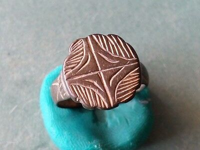 Perfect Late Roman Artifact - Bronze Engraved Ring - Cross