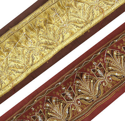 Vintage Indian Sari Border Used Woven Trim Sewing Wrap Art Red Ribbon Lace 1YD