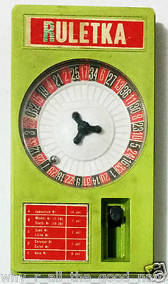 Vintage 1980's RULETKA Spring Loaded Casino ROULETTE Hand Held Toy Game Poland