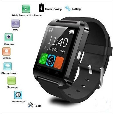 Relojes Inteligent Bluetooth Smart Wrist Watch Phone For Android Samsung Black
