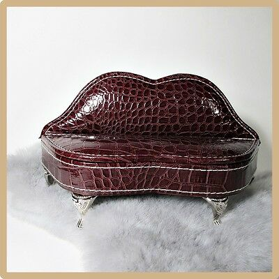 Doll Sofa Couch Jewelry Box-Brown Lips FauxLeather-Miniature Dollhouse Furniture