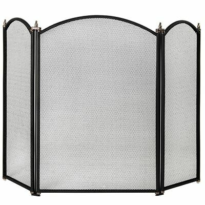 SELBY FIRE SCREEN Freestanding Safety Guard Black 3 Panel Shield Spark Fireplace