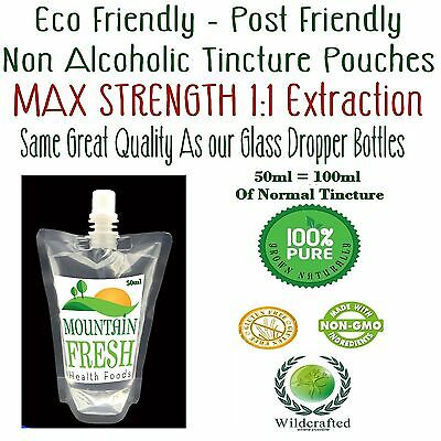 Organic Ashwagandha Concentrated 1:1 Non Alcoholic Tincture 50ml Easy Post Pouch