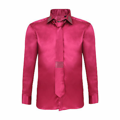 Robelli Men's Diamante Collar Cuff Satin Shirt & Matching Tie - Fuchsia Pink