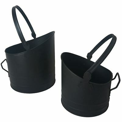 COAL BUCKET Set of 2 Black Scuttle Nested Fireside Storage Carrier Hod Basket