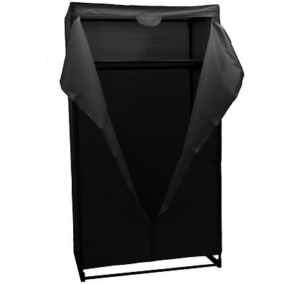 DOUBLE WARDROBE Black Canvas Rail Bedroom Storage Hanging Clothes Garment Closet