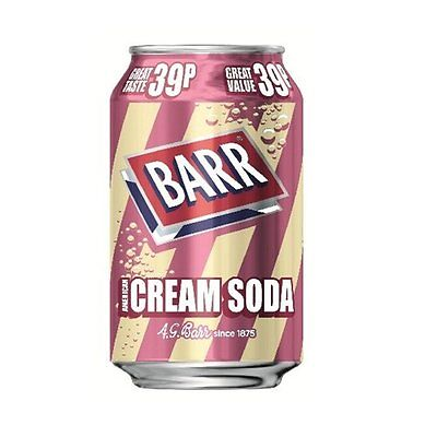 Pack of 24 Barr American Cream Soda Soft Fizzy Sparkling Drinks Cans 330 ml each