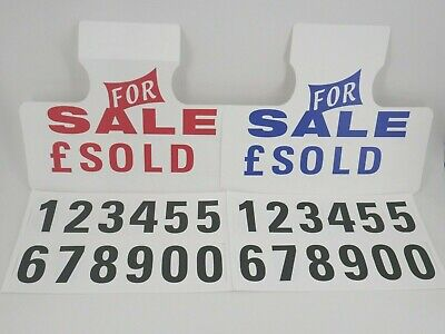 5 x Car For Sale Sun Visor Price Units Hanging Sale Sign / Numbers Advertising