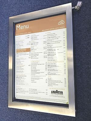 High Quality A2 Outdoor Stainless Steel Menu Display Case With LED Lighting.