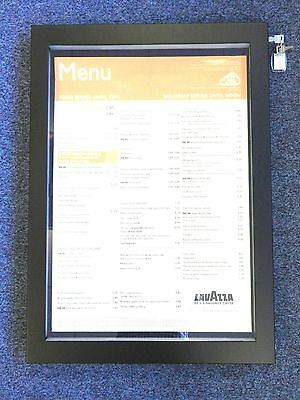 High Quality A2 Matt Black Stainless Steel Menu Display Case With LED Lighting
