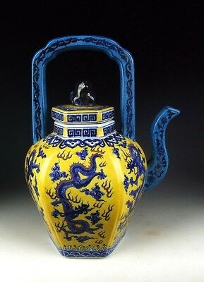 China Antique Yellow&Blue Colored Porcelain Wine Pot w Dragon