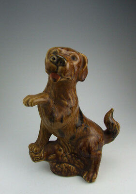 One Nice Chinese Antique Brown Glazed Porcelain Dog