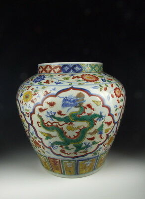 Nice Chinese Antique Five-colored Porcelain Pot w Dragon