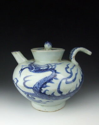Nice Chinese Antique Blue&White Porcelain Wine Pot Dragon Pattern
