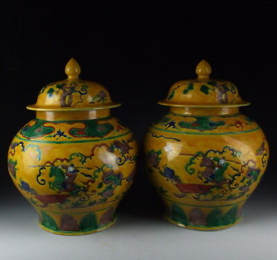 Pair of Chinese Antique Five Colored Yellow Glazed Porcelain Pot