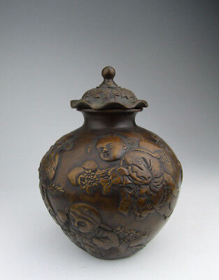 One Nice Chinese Antique Carved Copper Lidded Pot