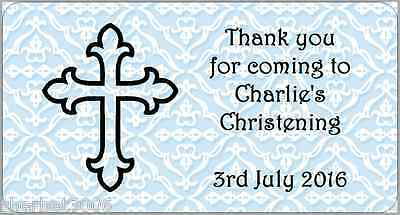 24 x Personalised Stickers Christening Cross Blue Labels