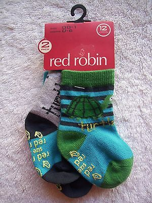 BNWT Baby Boy's Red Robin 2 Pack Turtle Socks Shoe Size 00-1 0-6 Months