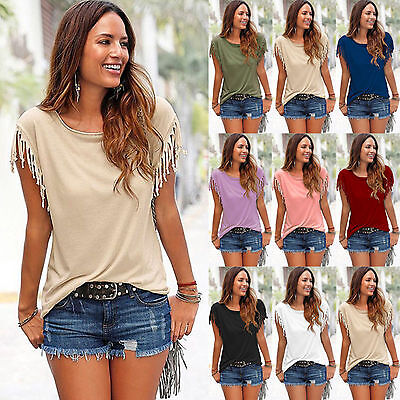 New Womens Tassels Short Sleeve Loose T-Shirt Summer Casual Tops Blouse UK 6-20