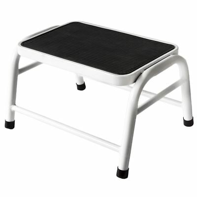 ONE STEP STOOL White Metal Non-Slip Rubber Mat Tread Compact Kitchen Bathroom