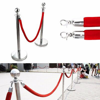 2xPolished Stainless Steel Queue Rope Barrier Posts with 1.5m Red velvet Rope